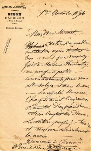 Lettre de Paul Cezanne a Claude Monet